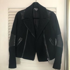 Vince wool and leather moto jacket